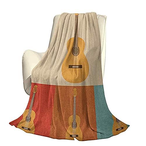 Guitarra Moderna y Elegante Colcha para Todas Las Estaciones futón Iconos Retro Guitarras acústicas en Marcos de Colores Música nostálgica Instrumento de Cuerda Cuatro Estaciones luz Sala de