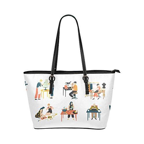 N\A Umhängetasche für Frauen Kreative Kunst Charakter Leder Hand Totes Tasche Kausale Handtaschen Reißverschluss Schulter Organizer Für Lady Girls Damen Zipit Umhängetasche