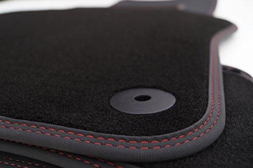 Fußmatten passgenau für Golf 1K 5K Velours (Doppelnaht Rot) Autoteppich Tuning 4-teilig Schwarz Nubukleder Rand