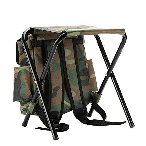 YTXR Best Camping Chairs 2 in 1 Foldable Fishing Chair Backpack Camouflage Oxford Cloth Fishing Chair Stool and Fishing Bag for Outdoor Hunting Climbing (Color : Multi-Colored)