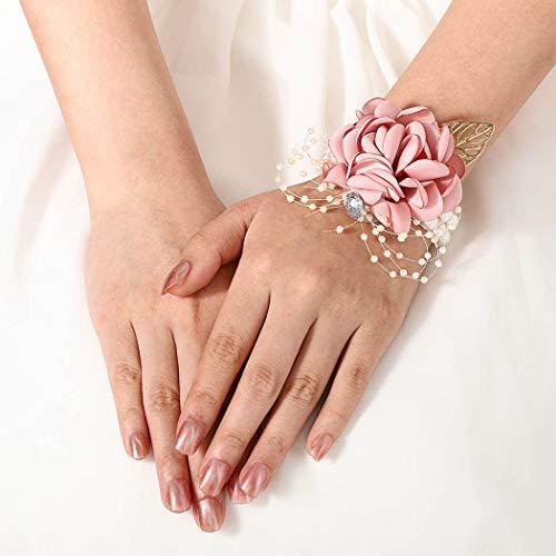 FstrendFstrend - Corsage para novia, dama de honor, perla, hoja, muñeca, flor, fiesta, graduación, boda, accesorios para mujeres y niñas (azul), Rosado, 1.00[set de ]