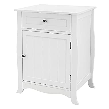 SONGMICS Nightstand End Table bed Side Storage with Metal Slider Drawer Wooden Accent Sofa Table, Bathroom Cabinet White ULET02WT
