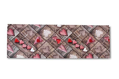 Homelife Tappeto Cucina Antiscivolo Lavabile in Vinile 52X350 Made in Italy | Passatoia Antimacchia in PVC Interni ed Esterni Stampa Patchwork a Cuori