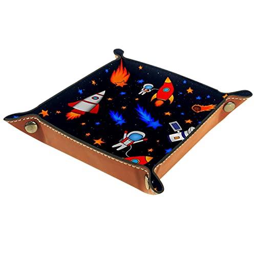 Plateau en cuir, plateau à bijoux, organisateur de rangement de bureau,Star Rocket Satellite Plateau d'articles divers pour le changement de téléphone de pièce de monnaie de porte-clés