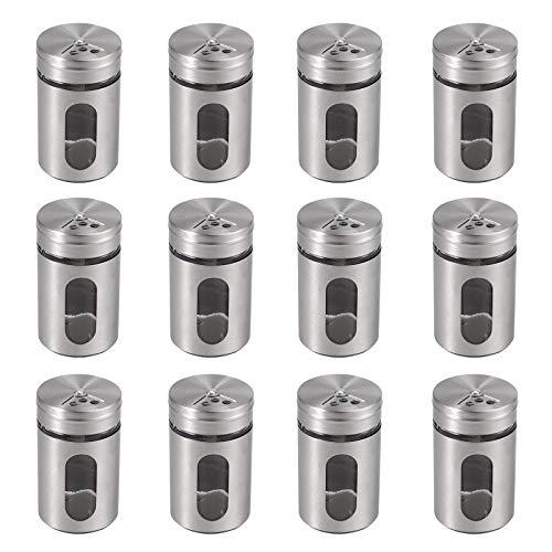 Fugen Lot de 12 pots à épices en acier inoxydable 304 avec bocaux, saliers et poivrons, boîtes à épices pour sel, poivre, etc.