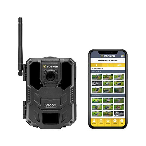 Vosker V100 | Cellular 4G Outdoor Security Camera | Wireless Weatherproof Protection | No Wi-Fi Required | Battery Operated | Day and Night Vision Surveillance Camera | Free Data Plan Available