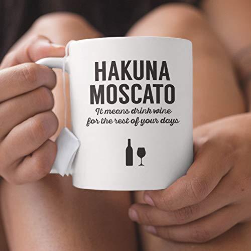 Rae Esthe Hakuna Moscato Significa Beber Vino por el Resto de Sus días: Vaso y Botella, Regalo de por Vida, Bebedores Rojos Que aman Beber en Fiestas de viñedos