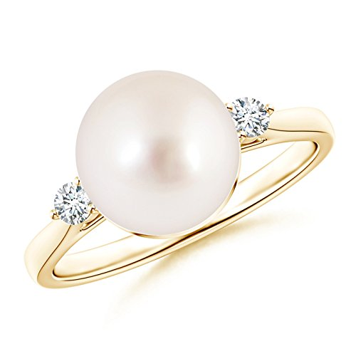 June Birthstone - Round South Sea Cultured Pearl Solitaire Engagement Ring for Women with Tiny Diamonds in 14K Yellow Gold (9mm South Sea Cultured Pearl)