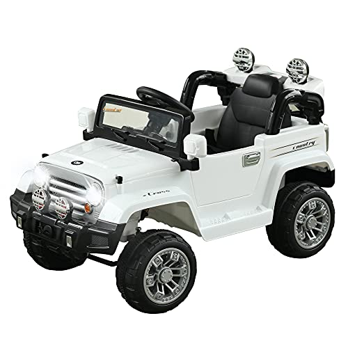 Aosom Kids Ride-on Car, Off-Road Truck with MP3 Connection, Working Horn, Steering Wheel, and Remote Control, 12V Motor, White