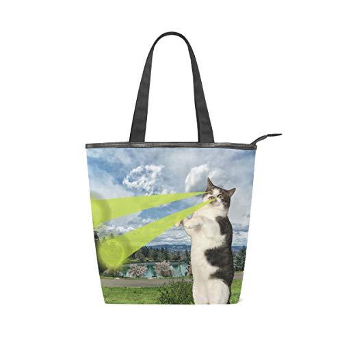 NaiiaN Super Cat Beam Einkaufstasche Bulldog für Frauen Mädchen Damen Student Umhängetaschen Light Weight Strap Handtaschen Geldbörse Shopping