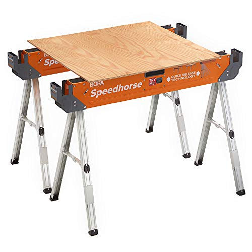 Bora Portamate Speedhorse Sawhorse Pair– Two Pack, Table Stand with Folding Legs, Metal Top for 2x4, Heavy Duty Pro Bench Saw Horse for Woodworking, Carpenters, Contractors, PM-4500T