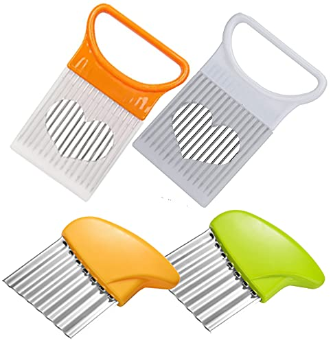 4 pieces Food Slicer Assistant Onion Holder Chopper and Potato Crinkle Cutter Wavy Chopper (2pcs+2pcs(1set), Yellow+White and Yellow+Green)