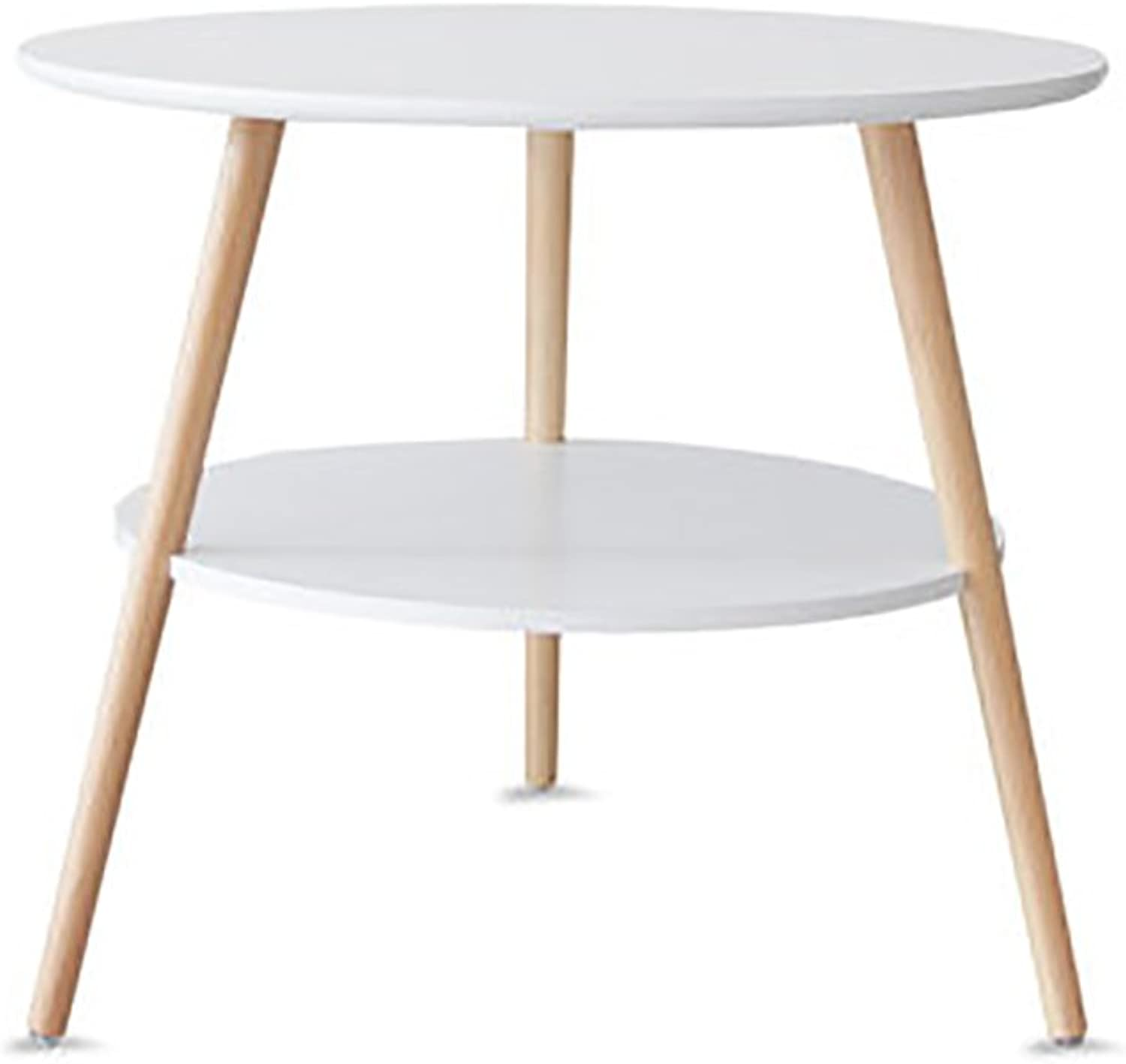 Wood Simple Round Side Table,Double Layer Living Room Sofa Table Coffee Table Bedroom Night Table Telephone Table-White 40X40cm