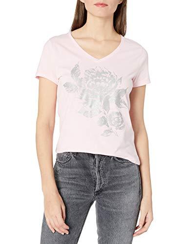 Hanes Women's Short Sleeve Graphic V-neck Tee, PALEO PINK, LARGE