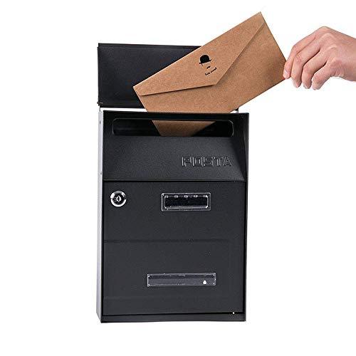 DFBGL Briefkasten, Briefkasten an der Wand, Briefkasten aus verzinktem Stahl im Freien, abschließbarer wetterfester Außenbriefkasten, schwarzer Londoner Briefkasten, personalisiert mit I