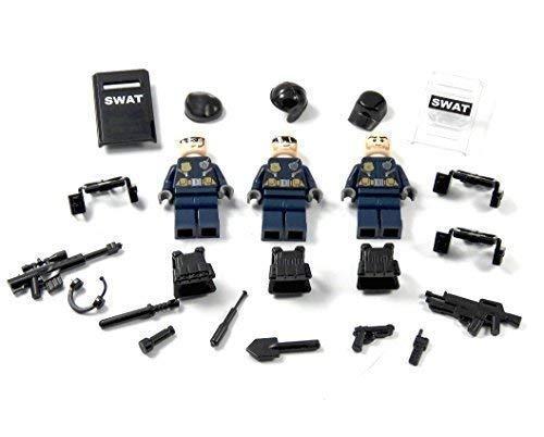 3 Custom SWAT Polizei Figuren aus Lego© und Custom Teilen mit Schild und viel Zubehör