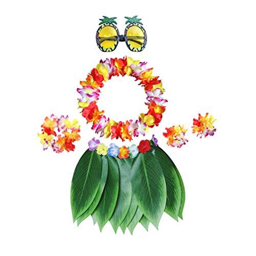TENDYCOCO Traje Y Accesorios Hawaianos Conjunto de Falda Hula Flor Leis Collar Pulsera Diadema Bikini Top Piña Gafas de Sol para Fiesta Luau Hawaiana 1 Juego