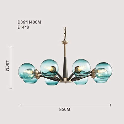5151BuyWorld Lamp hanger verlichting van glas, lampenkap blauw met kleurverloop wit, melkachtig, transparant, Amerikaans, hanglampen, modern, hoogwaardige kwaliteit