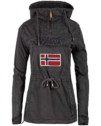 Geographical Norway Chaqueta cortavientos para mujer. Negro M