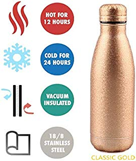 Stay Hydrated Vacuum Insulated Double Wall Bottle for Hot & Cold 16.9 oz- Scratch Proof Glitter Edition