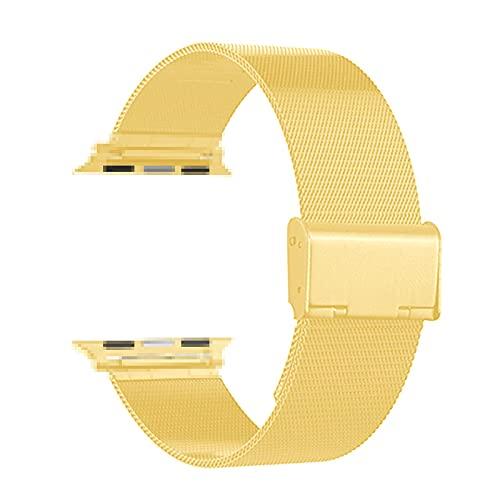 Correa Reloj Compatible con Apple Watch Band 44mm 40 mm Ajuste Pulsera de Acero Inoxidable Compatible con la Correa de Apple Watch 38mm 42mm Reemplazo (Band Color : Gold)
