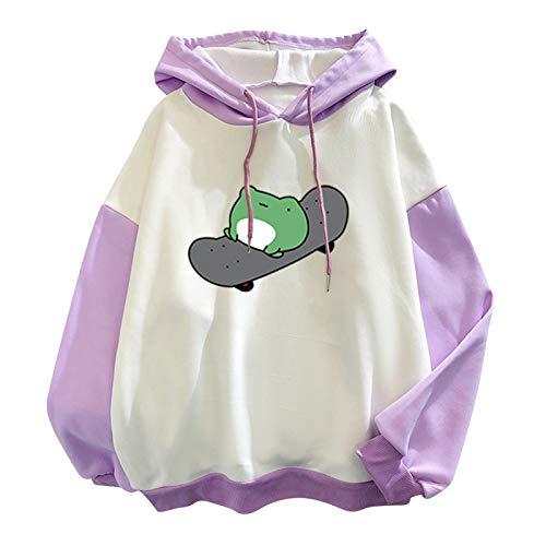 Womens Cute Hoodies Frog Skateboard Printing Patchwork Long Sleeve Drawstring Hooded Sweatshirt Pullover Tops Purple