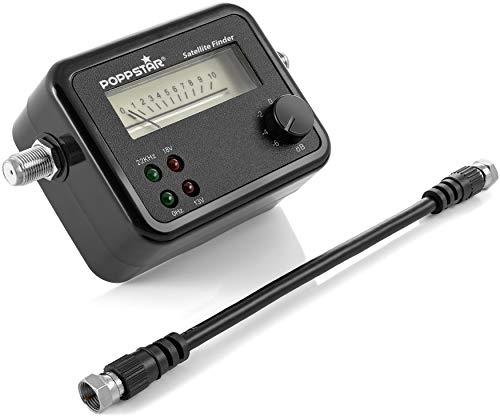 Poppstar Strumento di misurazione Satfinder per un accurato allineamento di antenne satellitari, max. 100mA, incl. cavo di collegamento 19,5 cm
