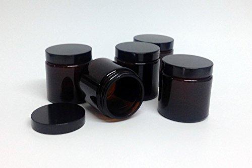 5 braune Glas-Tiegel 100ml mit schwarzem Deckel Kosmetex Kosmetik-Dose, Salbentiegel, Cremedose, 5x 100ml