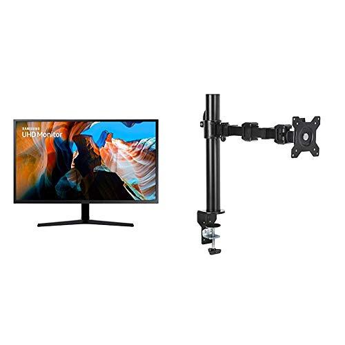 Samsung U32J592 - Monitor de 32'' (4K, 4 ms, 60 Hz, FreeSync, Flicker-Free) Negro + AmazonBasics - Soporte Simple para monitores, Brazo Ajustable en Altura, Acero