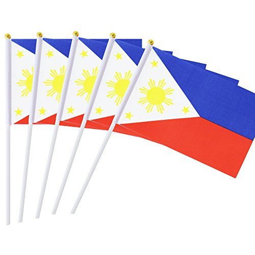 25 Pack Hand Held Small Mini Flag Philippines Flag Filipino Flag Stick Flag Round Top National Country Flags,Party Decorations Supplies For Parades,World Cup,Festival Events ,International Festival