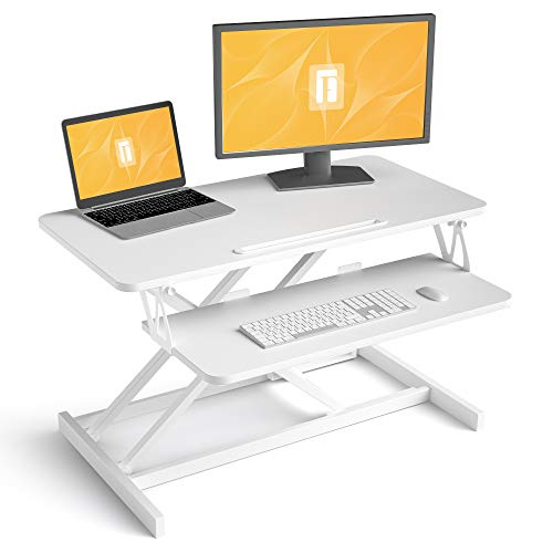 FEZIBO Standing Desk with Height Adjustable, 32 inches Stand Up White Desk Converter, Ergonomic Tabletop Workstation Riser White