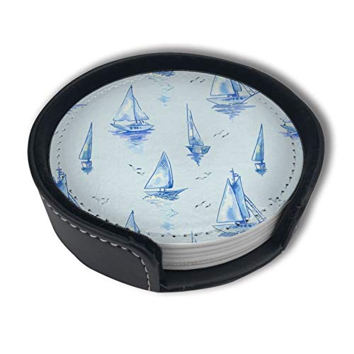 Blue Sailboats Pattern Boats Watercolor Drinks Coasters With Holder, Suitable For Kinds Of Cups, Set Of 6