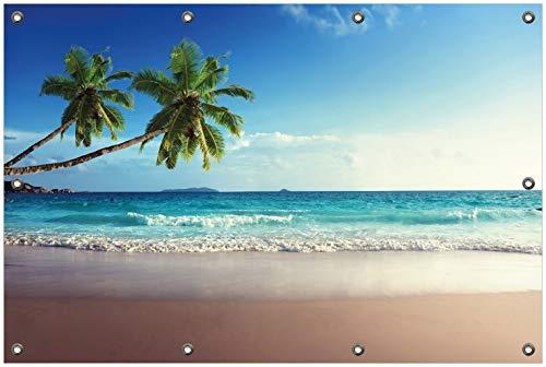 Wallario Garten-Poster Outdoor-Poster, Sandstrand auf den Seychellen - Urlaub unter Palmen in Premiumqualität, für den Außeneinsatz geeignet