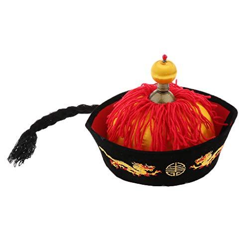 P Prettyia Chinesischer Hut mit Zopf Karnevalshut Faschingskotüm - 54 cm