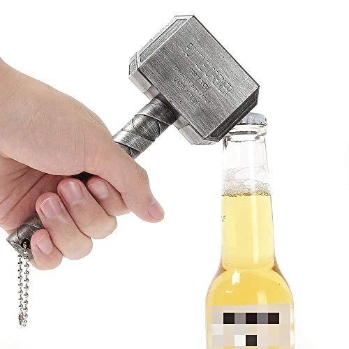 ALIXIN-Mjolnir Quake Bierflaschenöffner,Form von Thors Hammer,Perfekt für die Bar und den Häuslichen Gebrauch,Großartiges Festival-Geschenk.(Silber)