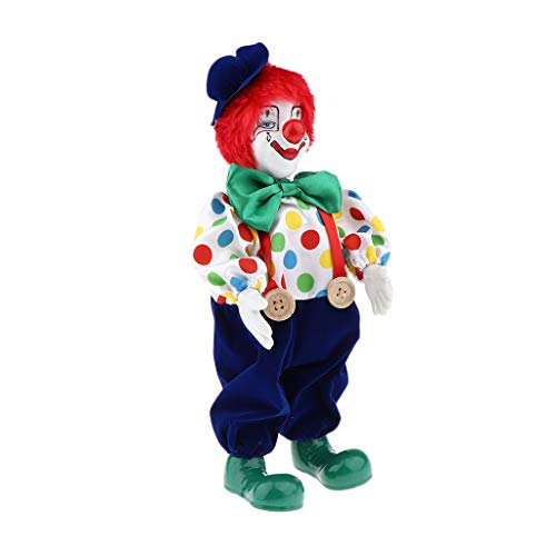 perfeclan Miniatur Porzellan Puppen Clown Figur Harlekin Zirkus Puppe im Bunte Outfit Spielzeug Dekoration - B- 37 cm