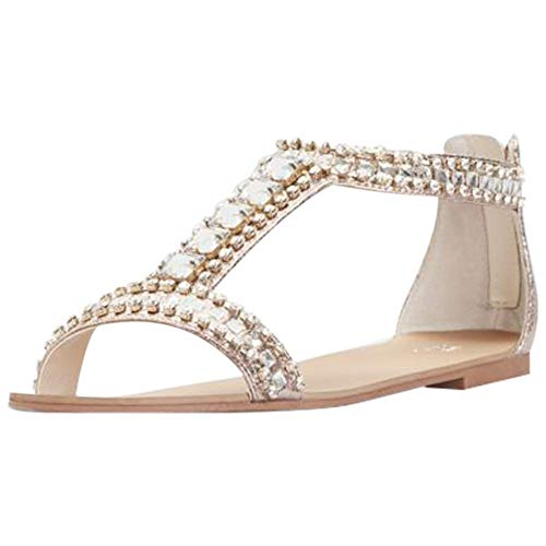 David's Bridal Crystal and Jewel Embellished Flat Sandals Style Posey, Rose Gold, 8