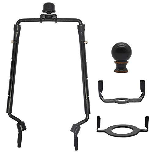7 8 9 10 inch Lamp Shade Harp Holder,Adjustable Lamp Harp Kit,Fit both Standard Lamp Rod and E26 Light Base UNO Fitter Adapter,with 2 Shade Attaching Finial Top,Black Horn Frame Lampshade Bracket