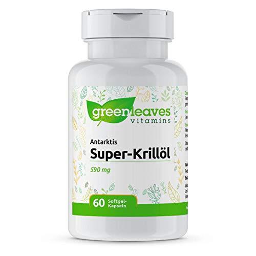 Greenleaves Vitamins - Antarktis Super-Krillöl 60 Softgel-Kapseln 500 mg. Hochdosiert und reine Quelle von Omega-3-Fettsäuren