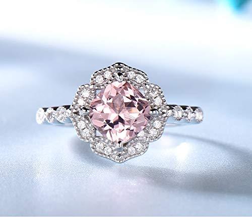 Solid sterling zilveren ringen Gift vrouwelijke verlovingsring Set Pink Sapphire Anniversary Valentine's
