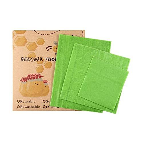 3 stuks herbruikbare bijenwasdoeken levensmiddelen vers houden wrap textiel multifunctioneel duurzaam fruit biologisch katoenen doek gratis alternatief voor de opslag van groente groen