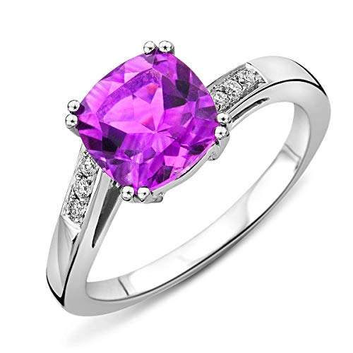 Miore Ladies 9ct White Gold Amethyst Engagement Ring with Diamond 0.06ct