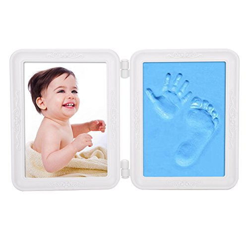 Fotolijst voor baby's, houten fotolijst, babyafdruk, klapframe, houten tafellijst, inklapbare fotolijst voor babyfoto's, portretlijst met handafdruk, voetafdruk, decoratief frame, tafeldecoratie voor de kinderkamer 30 x 9.5 cm (LxB) blauw
