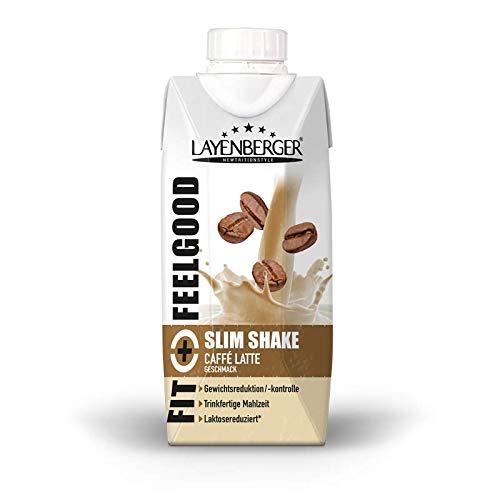 Layenberger Fit+Feelgood Slim Shake Caffé Latte, Trinkfertige Mahlzeit zur Gewichtsabnahme und -kontrolle, ersetzt eine Mahlzeit bei nur 208 kcal, glutenfrei, laktosereduziert, (8 x 330ml)