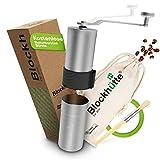 Blockhütte® Premium Edelstahl Kaffeemühle manuell mit Keramikmahlwerk (Grau) - [GRATIS Naturborsten - Pinsel] - Handkaffeemühle sichert EIN Präzises Mahlergebnis & den perfekten Kaffeegenuss.