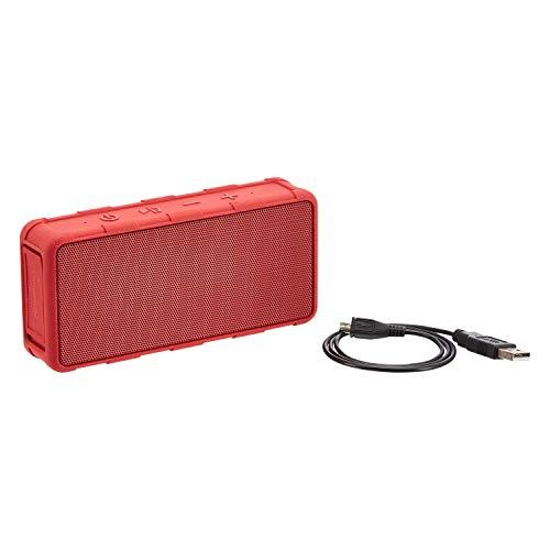 AmazonBasics - Altavoz portátil con Bluetooth para exterior, con resistencia al agua IPX5, 5W, rojo