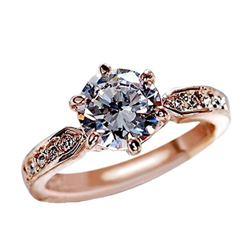 OldSch001 Womens Rose Gold Rings,Six-Prong CZ Diamond Wedding Band Ring (Rose Gold, 9)