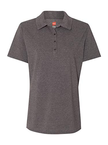 Hanes Ladies' X-Temp Piqué Polo with Fresh IQ L CHARCOAL HEATHER