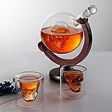 Portacandela Vetro Whisky Decanter Con Supporto, Caraffa Per Whisky O Vino Da 850 Ml, 2 Bicchieri Da 65 Ml Ciascuno