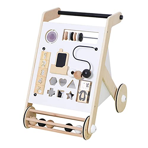 Asweets Wonder & Wise Wooden Baby Push and Pull Multifunctional Activity Walker with Interactive Elements and Toys, Promotes Walking and Standing